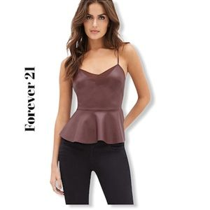 Forever 21 Faux Leather Peplum Cami Size L